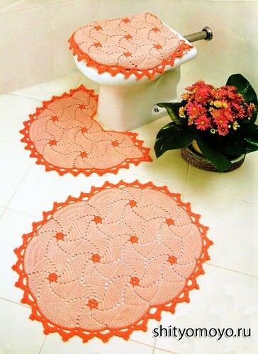 Вязание крючком схемы модели бесплатно: комплект для туалета - коврик