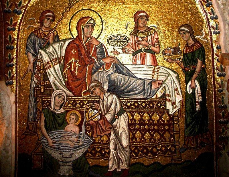 Рождество Пресвятой Богородицы. Мозаика монастыря Дафни, Греция. Конец XI века.