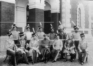Группа офицеров и казаков полка в исторических формах различных эпох.