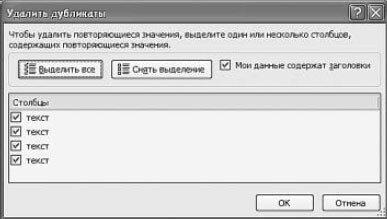 Рис. 5.47. Окно «Удалить дубликаты»