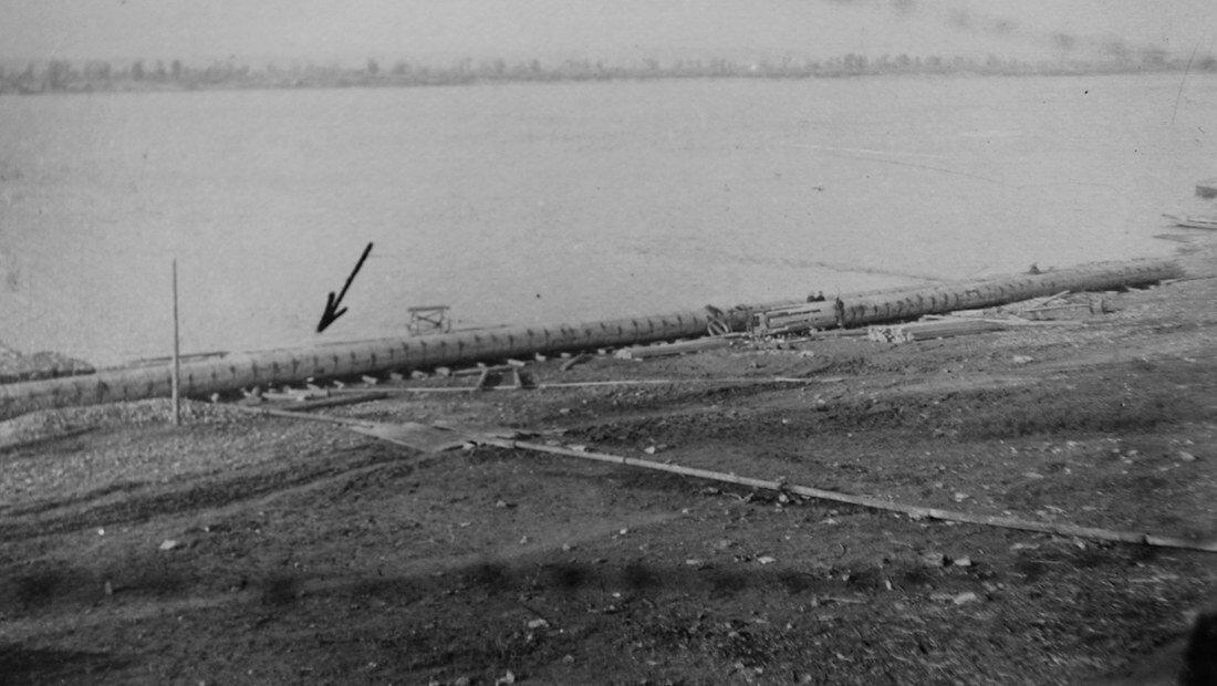 1931. Готовая деревянная труба длинной 80 метров