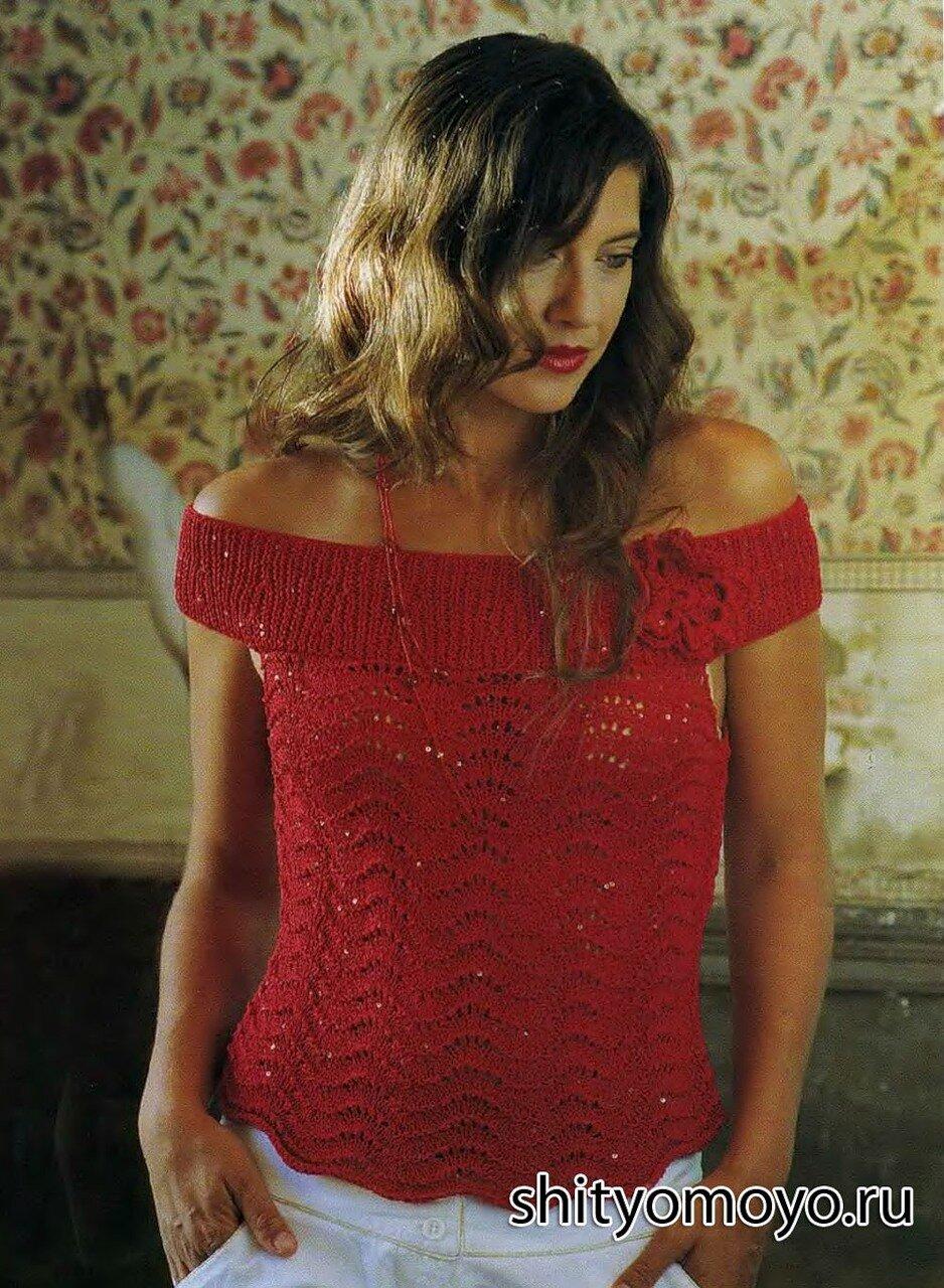 84b6cf9f8ce Вязание спицами модели бесплатно  красная блузка в стиле Кармен ...