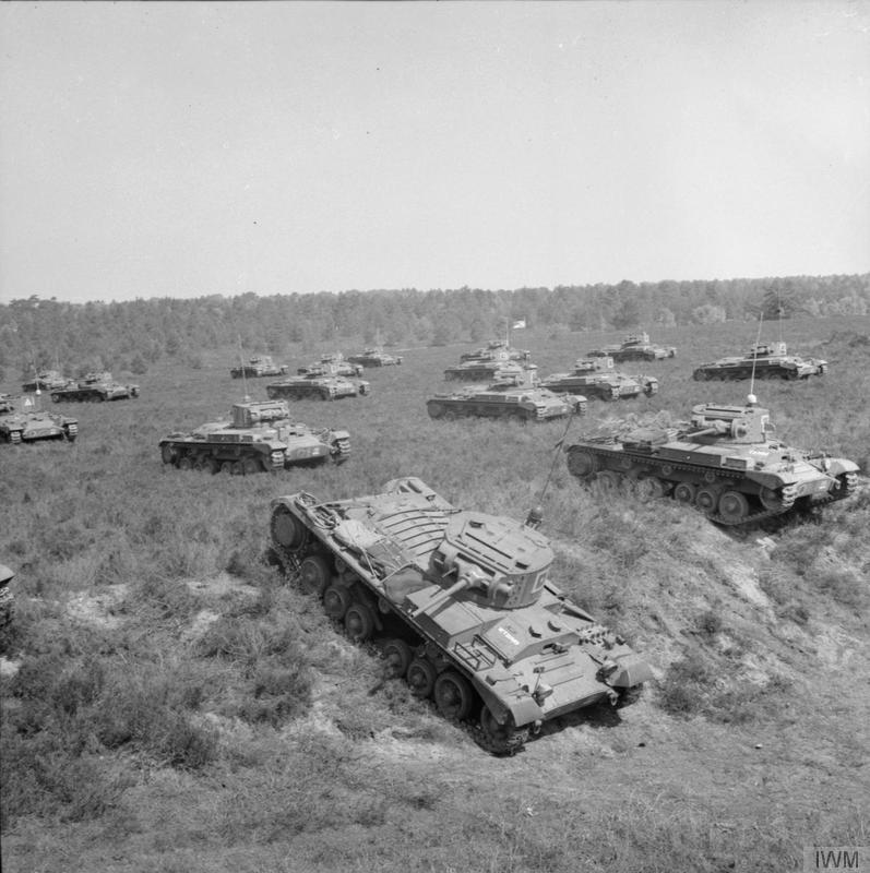 Valentine tanks of 48th Royal Tank Regiment, 21st Army Tank Brigade, exercising in strength on Sutton Common, near Woodbridge in Suffolk, 4 June 1940.