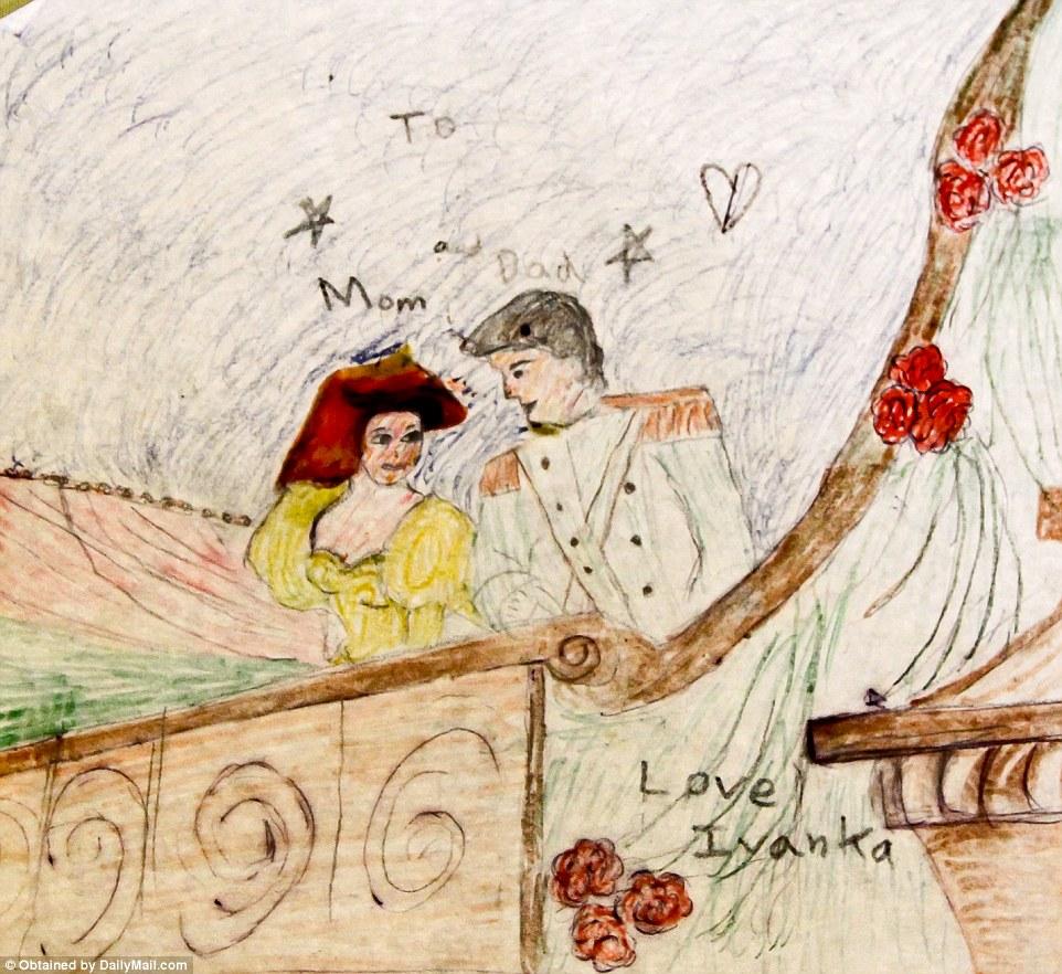 Такую открытку Иванка нарисовала папе и маме.