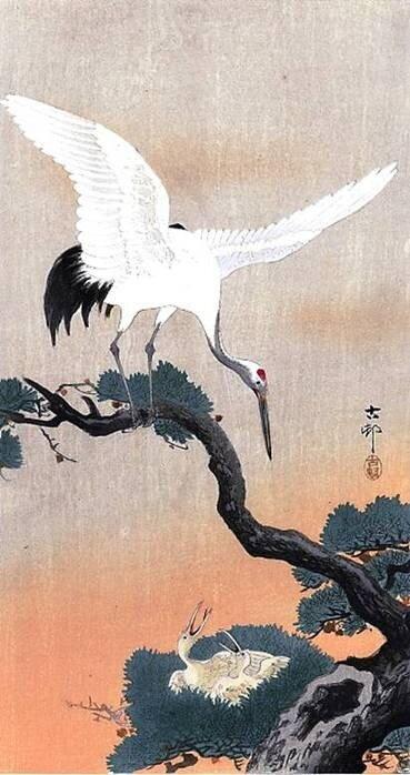 Журавль над гнездом - японская живопись