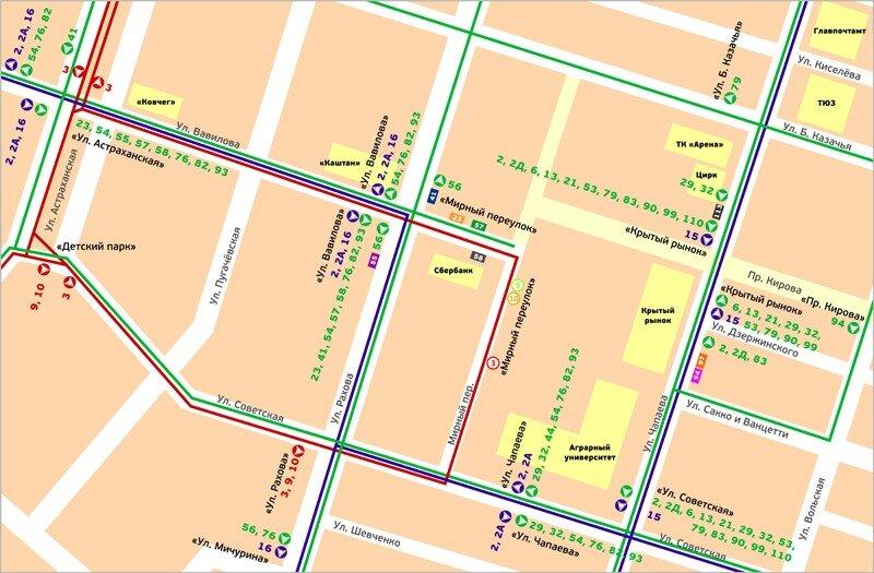 Схема транспорта Саратова.
