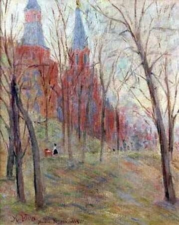 К. Юон. 1924 Александровский сад около Кремля. Холст, масло