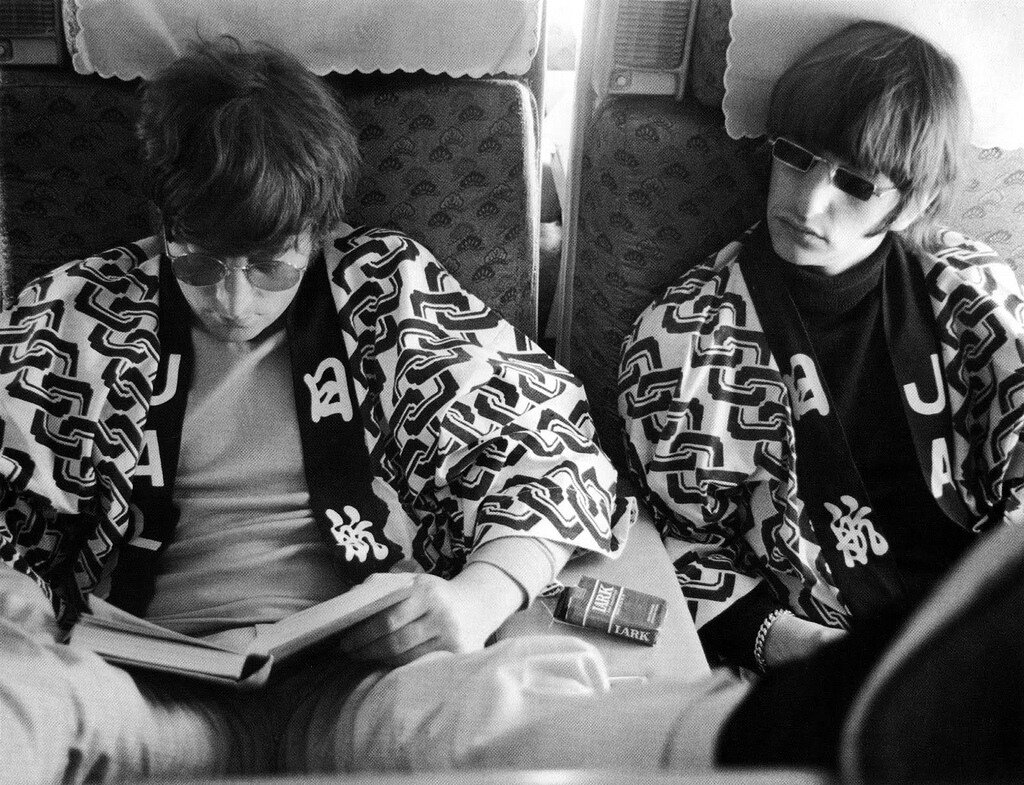 The Beatles on the road to Tokyo,Japan in 1966