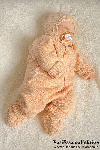 схемы вязания вязаный комбинезон для новорожденного
