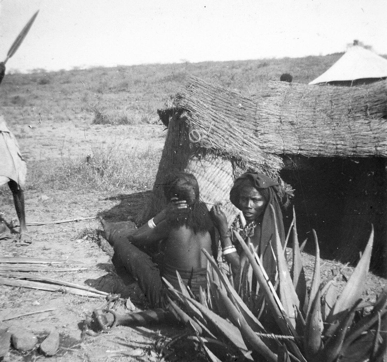 1897. Абиссиния.  На дороге Джибутти - Аддис-Абеба. Женшины данкали причесываются