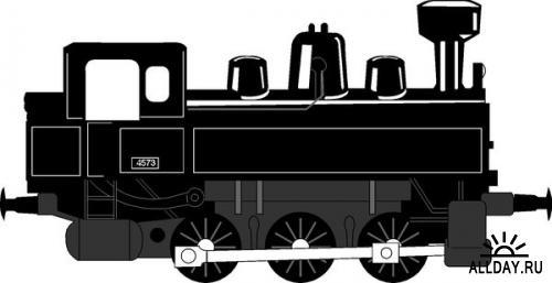 Железнодорожный транспорт ретро паровоз (подборка векторных отрисовок)