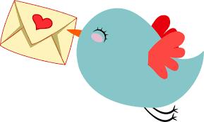День почты! Птица с сердечком на конверте открытки фото рисунки картинки поздравления