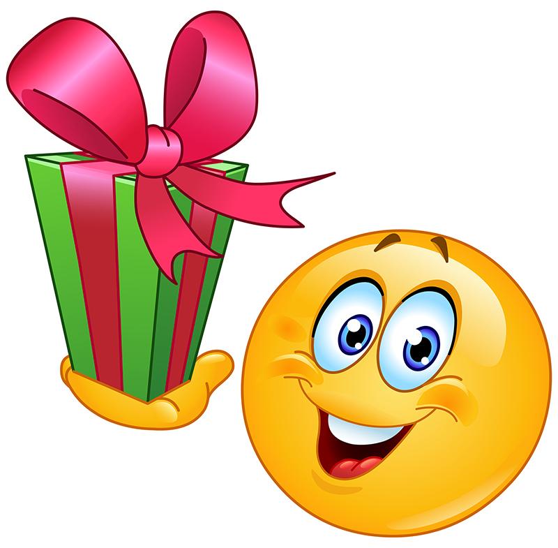 Открытка с днем рождения смайлика. Смайлик с подарком