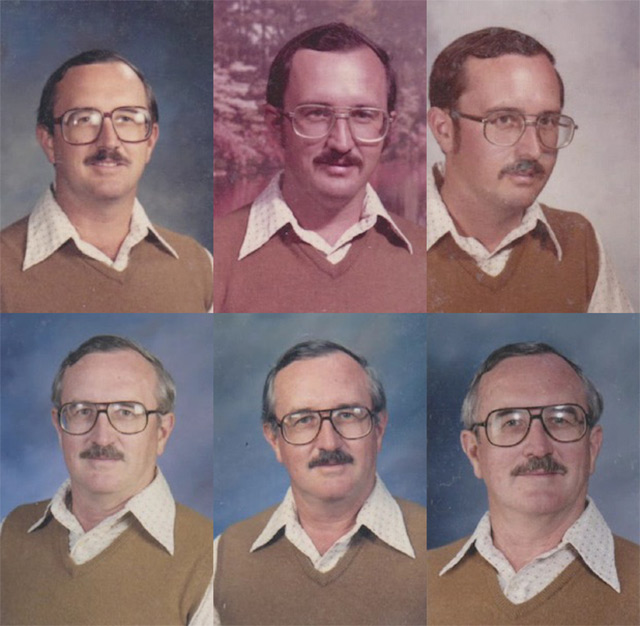 Retired gym teacher Dale Irby posed for his first yearbook photo back in 1973 at Prestonwood Element