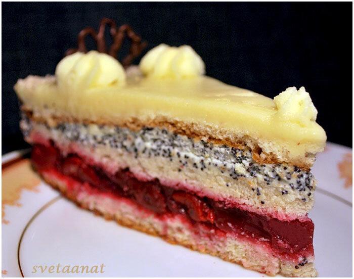 Вишнёво-маковый торт