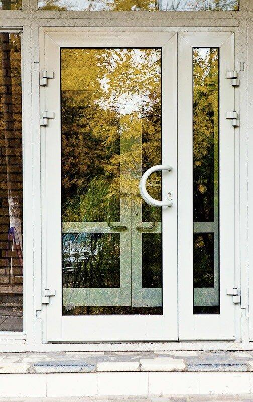 входные двери учреждения стекло