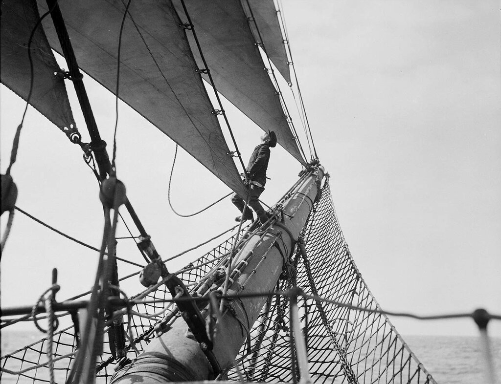 Looking out along the bowsprit, 1933