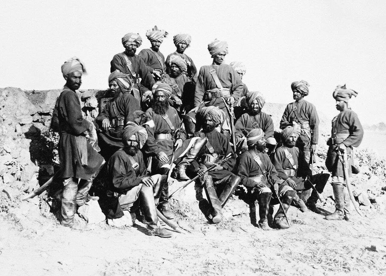 169. Группа офицеров и солдат 11 полка Бенгальской кавалерии