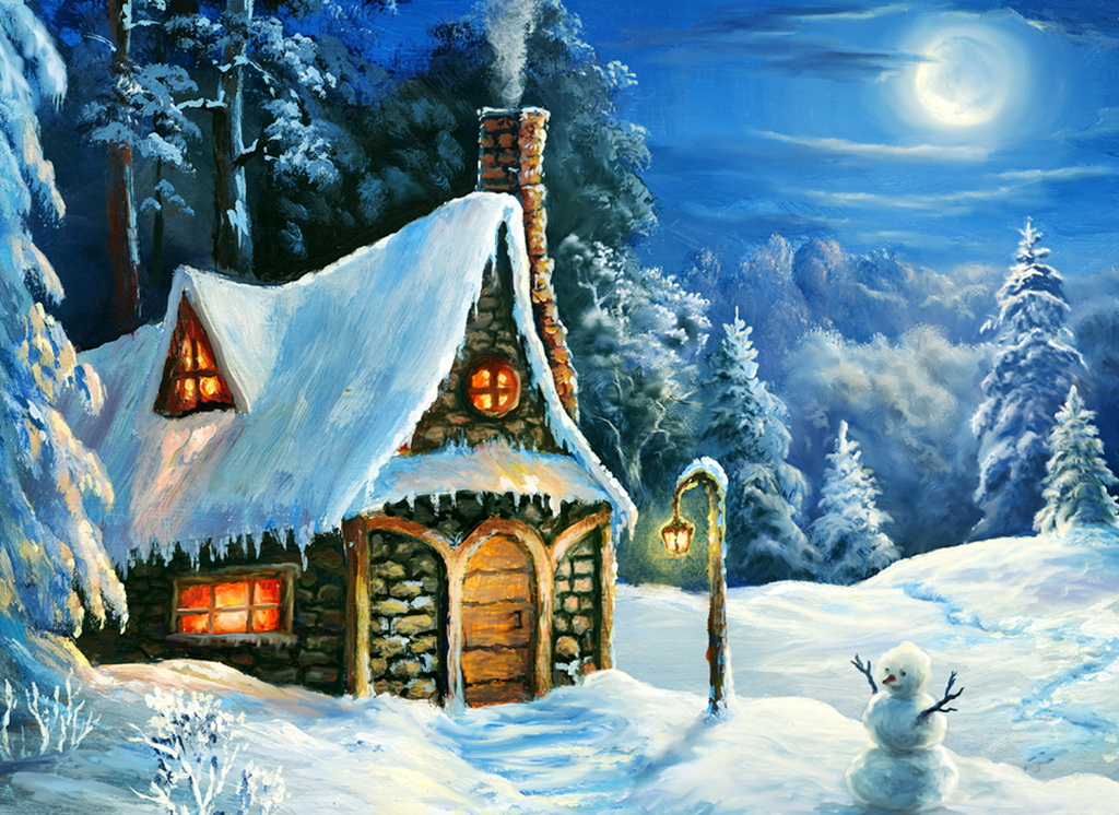 анимационная картинка домик лесника в зимний период это