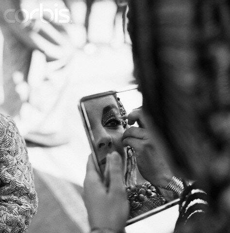 Elizabeth Taylor Doing Makeup for a Scene