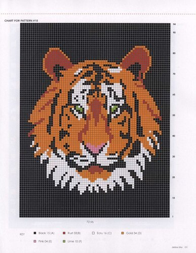 Tiger face, fur, footprint, Knitting, embroidery patterns