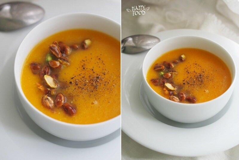 Тыквенно-апельсиновый суп с карамелизированными фисташками (готовлю с посудой iCookTM)