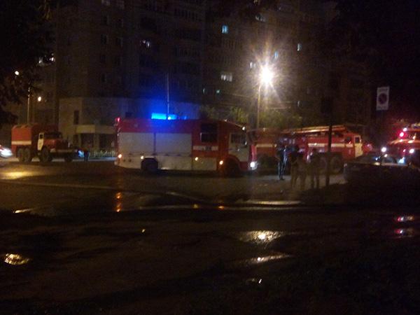 Пожар в пожарной части на Октябрьском проспекте, 122