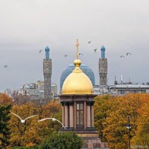 Неулетающие (осень, пара, птица, Соборная мечеть, Троицкая часовня, фонарь, чайка)