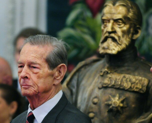 King Michael I of Romania is pictured ne