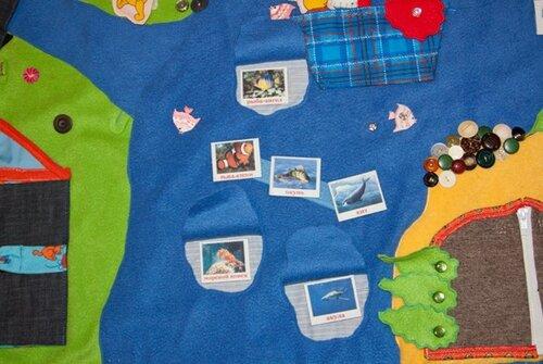 Игровой развивающий коврик... морские обитатели, карточки Домана