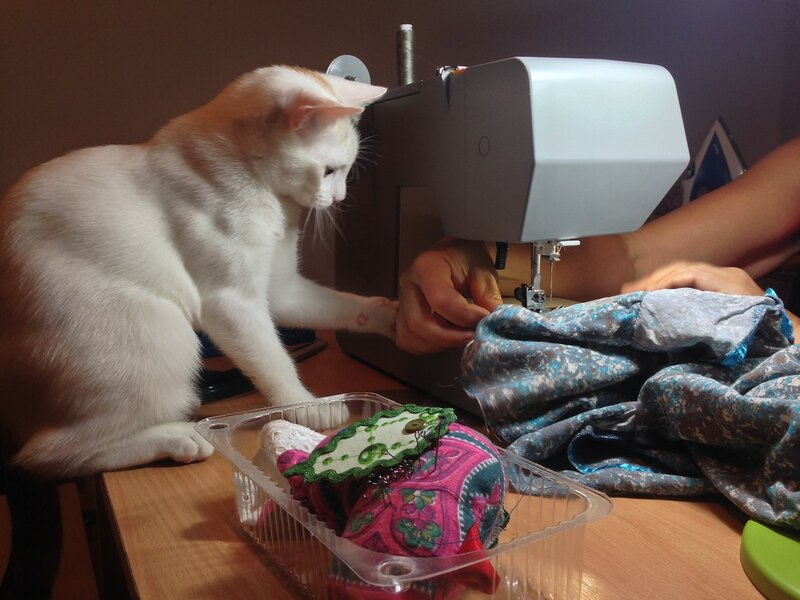 Милка помогает маме шить