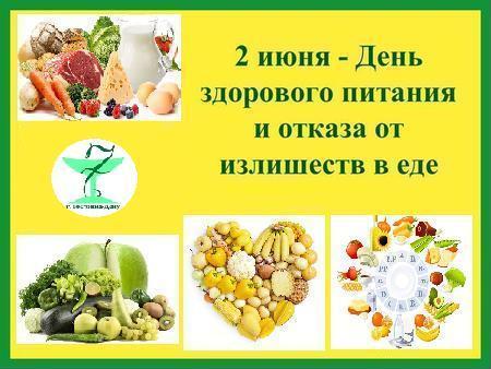 2 июня - День здорового питания и отказа от излишеств в еде. Поздравляем! открытки фото рисунки картинки поздравления