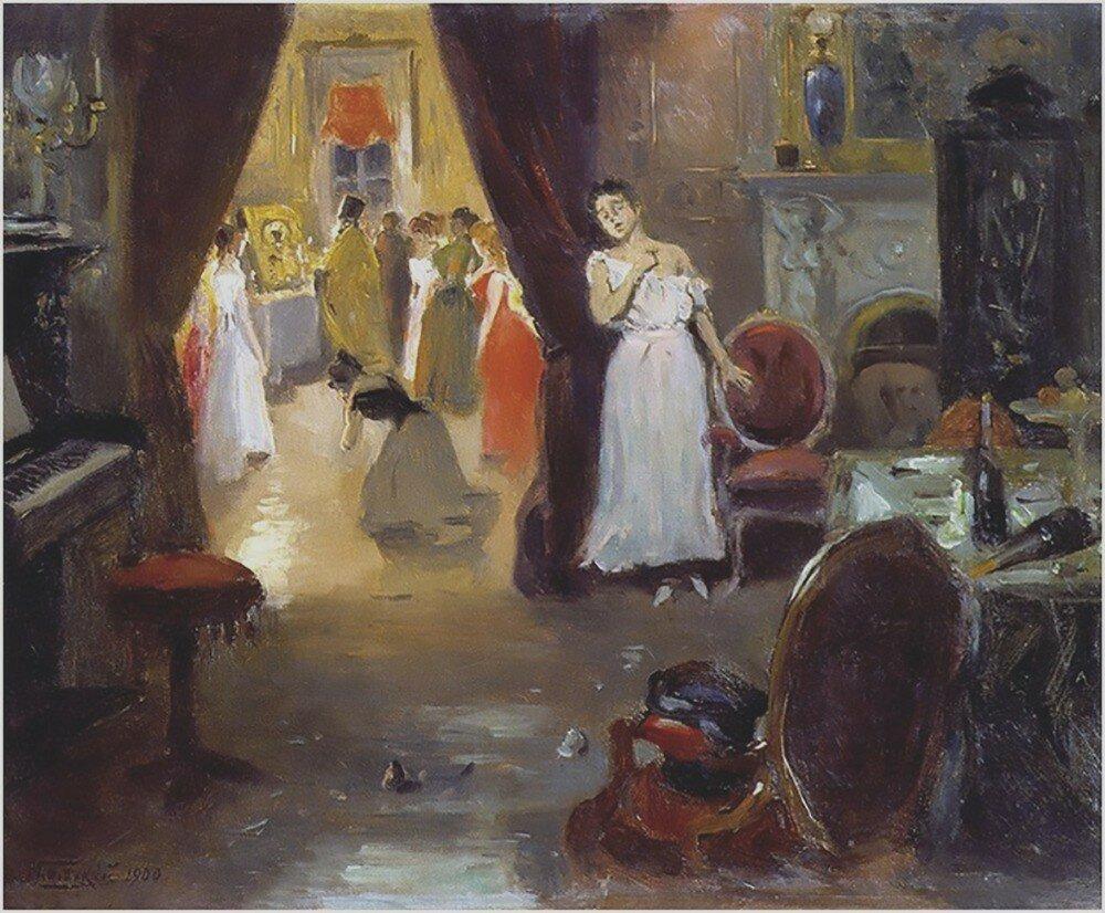 """Владимир Маковский """"Освящение публичного дома"""", 1900 год, эскиз."""