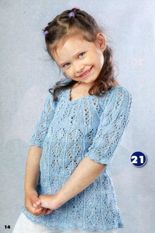 Туника для девочки (вязание спицами).  Описание и схема.  Написал. eva-ru88.