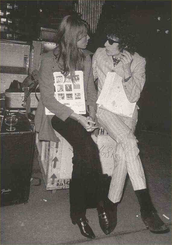 Françoise Hardy meeting Bob Dylan, backstage at l'Olympia Paris, France 1966