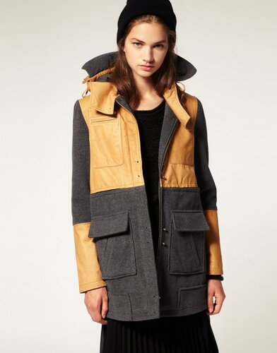 Asos Premium Wool And Leather Parka $210