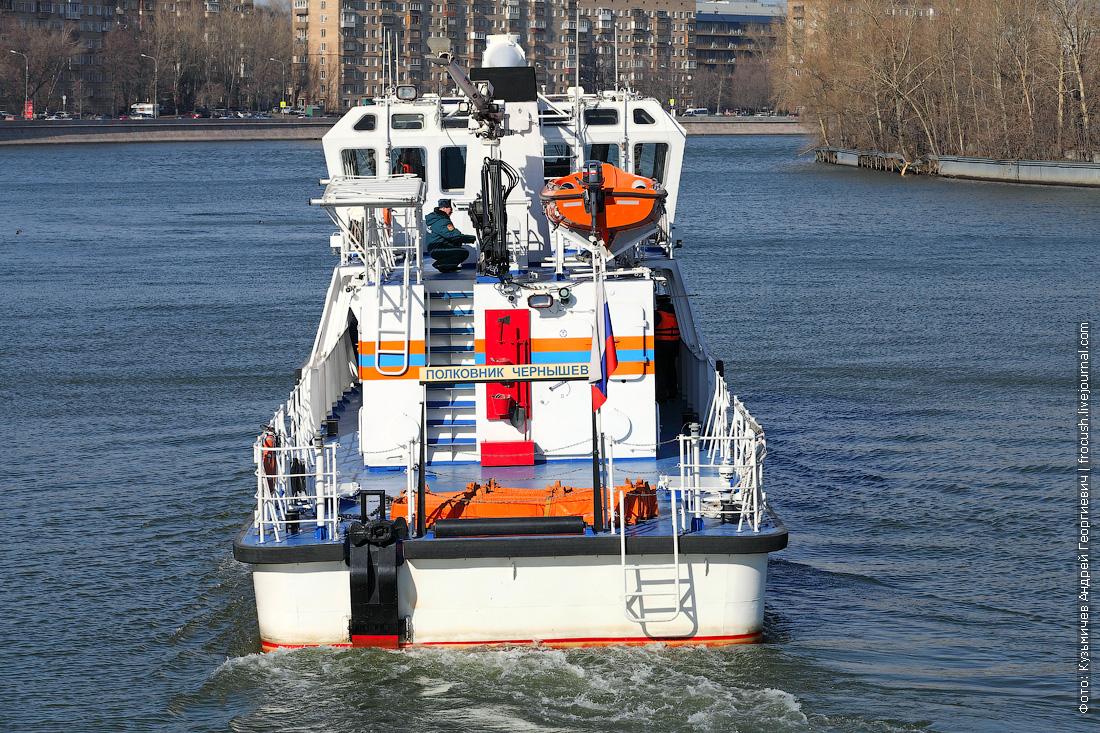 многоцелевой пожарно-спасательный корабль Полковник Чернышев вид с кормы