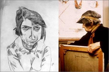Жанна Маммен(1890-1976) Автопортрет из 20-х годов и фотография под конец жизни.