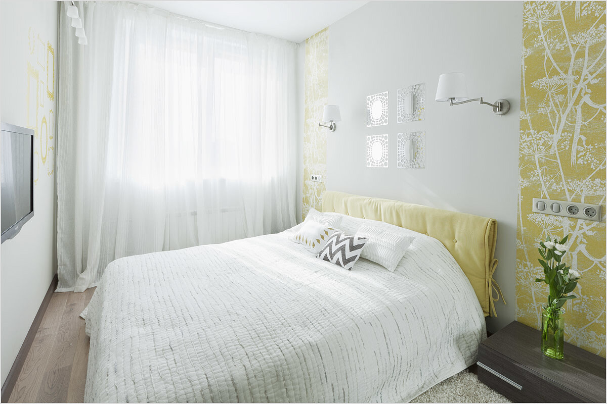 Дизайн маленькой спальни в светлых тонах фото