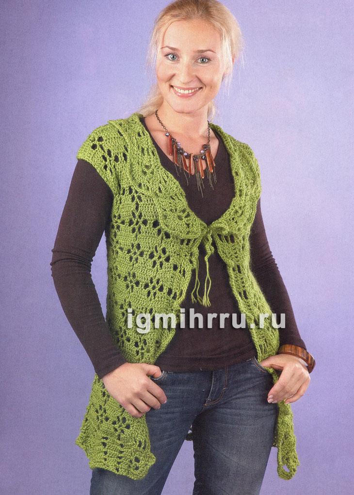 Зеленый ажурный жилет на завязках. Вязание крючком