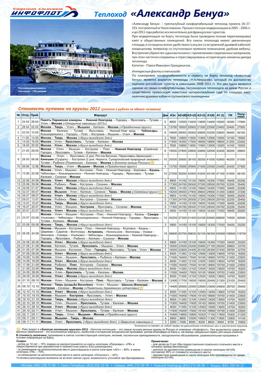 Стоимость круизов и расписание теплохода «Александр Бенуа» на 2012 год