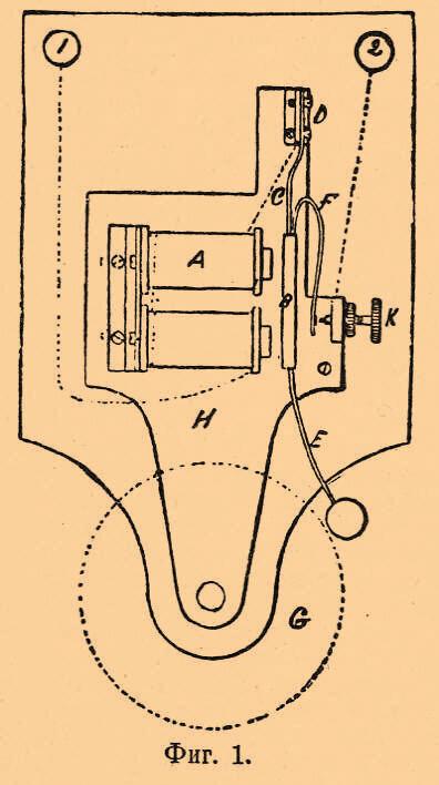 Припаянная к якорю пружина F (или продолжение пружины С)... Электрический звонок состоит из подковообразного...