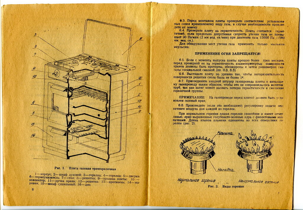 Инструкция по газовой плите