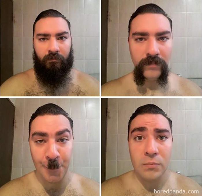 «Друг сбрил бороду, которую отращивал год, и сфотографировал процесс».