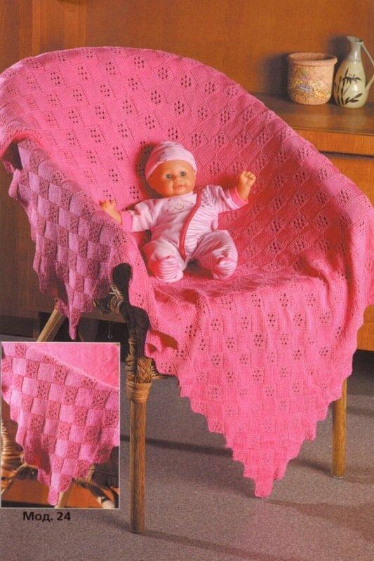 Вам потребуется:х/б пряжа (300 м/100 г) - 600 г розового цвета, спицы 3. Детский плед с ажурным узором.