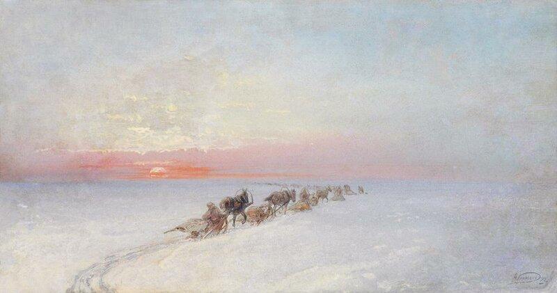НИКОЛАЙ НИКОЛАЕВИЧ КАРАЗИН (1842-1908) Зимний пейзаж с обозом