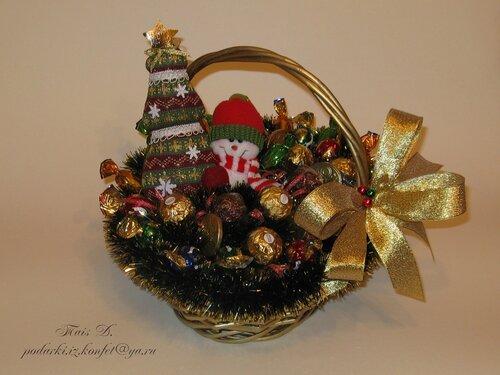 Корзинка новогодняя своими руками с конфетами