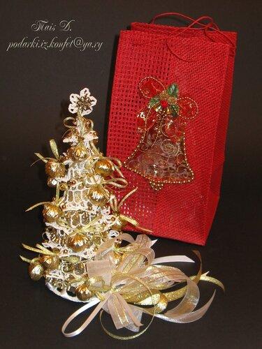 Ажурная ёлочка и подарочная сумочка (комплект)
