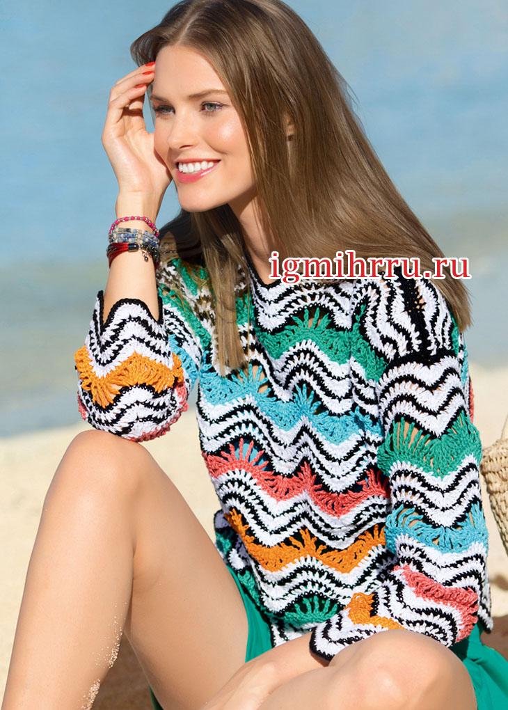 Летний пуловер с полосатым зубчатым узором. Вязание крючком