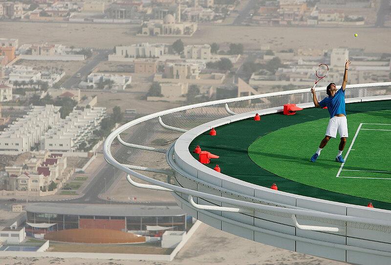 Worlds Highest Tennis Court at Burj Al Arab.